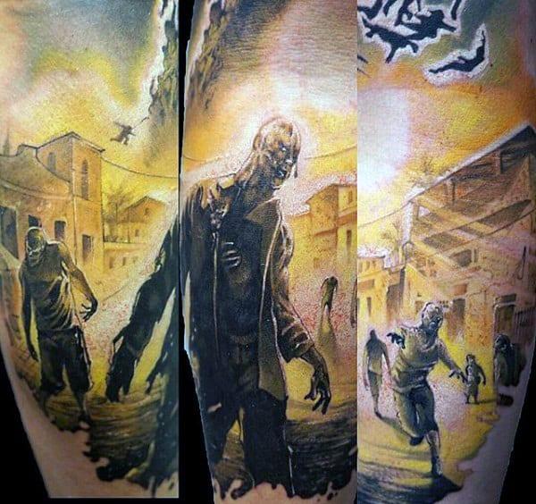 Realistic Guys Walking Zombie Tattoo On Arm