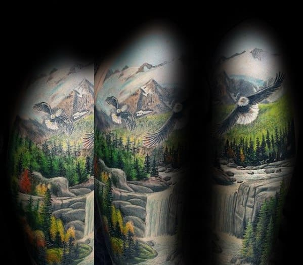 Realistic Half Sleeve Male River Tattoo Ideas