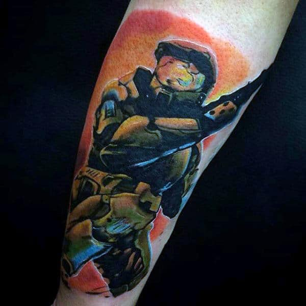Realistic Halo Vide Game Male Tattoos