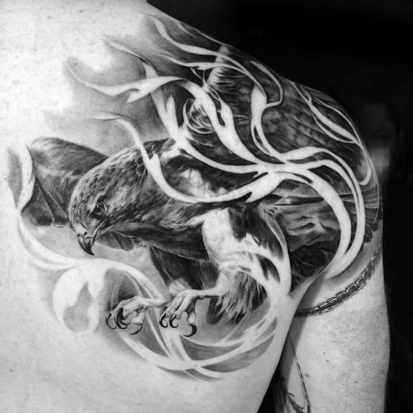 Realistic Hawk Diving Through Flame Tattoo For Men Shoulder