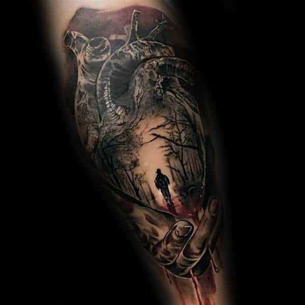 Realistic Heart With Man Walking In Woods Guys 3d Leg Tattoo