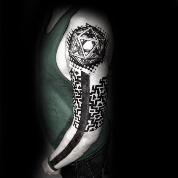 Realistic Hexagon Tattoo Male Full Sleeves