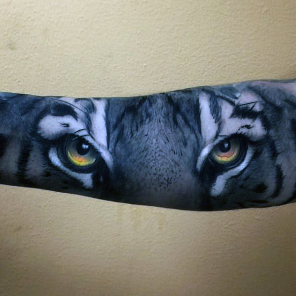 Realistic Honey Colored Tiger Eye Tattoo Male Sleeves