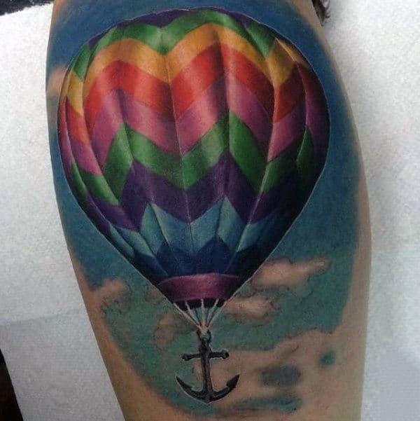 Realistic Hot Air Balloon With Anchor Guys Leg Calf Tattoo