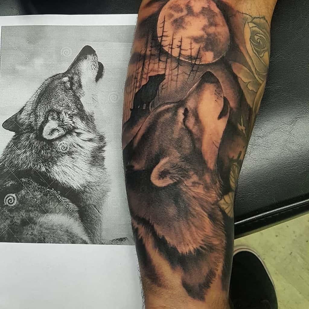 realistic howling wolf tattoo mark_flashpointtattoocompany
