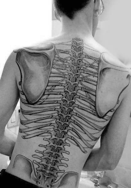 Realistic Human Anatomy Spinal Cord Back Tattoo On Guy