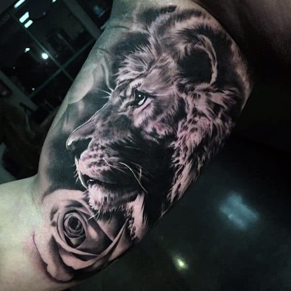 Realistic Inner Arm Lion Tattoos For Guys