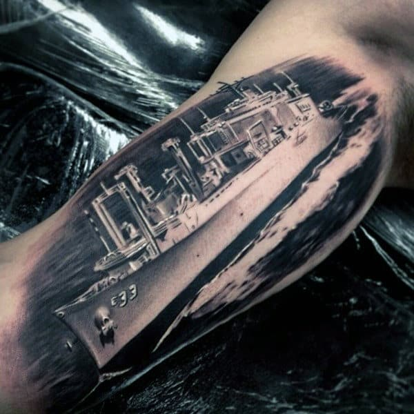 Realistic Inner Arm Navy Battleship Male Tattoos