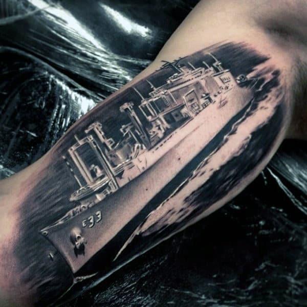 Realistic Inner Arm Navy Battleship Male Tattoos