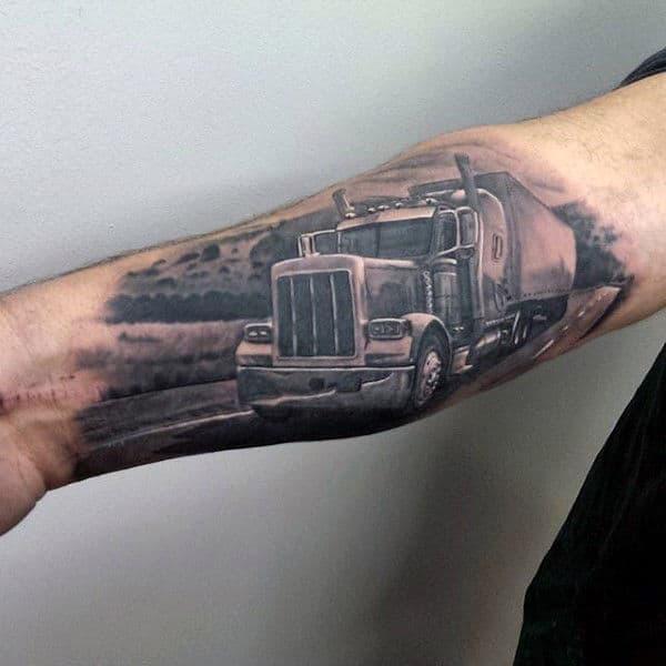 Realistic Inner Forearm Guys 3d Semi Truck Tattoo Design Ideas