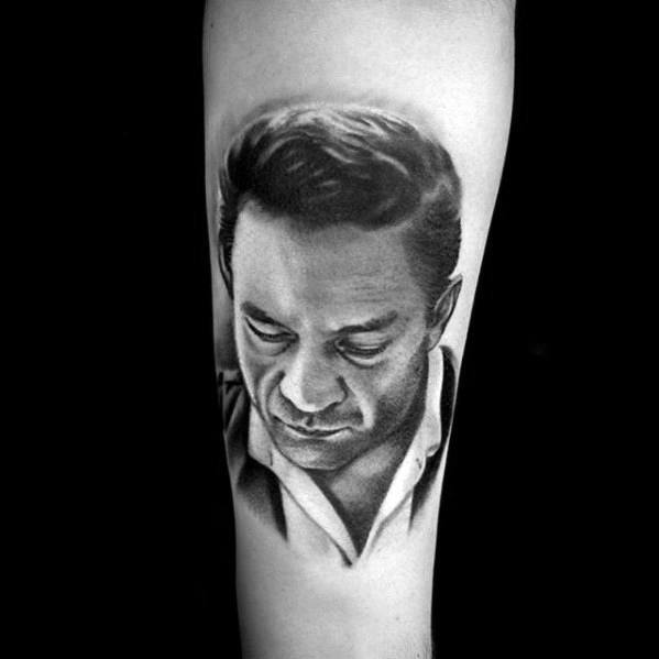 Realistic Inner Forearm Johnny Cash Mens Tattoo Designs