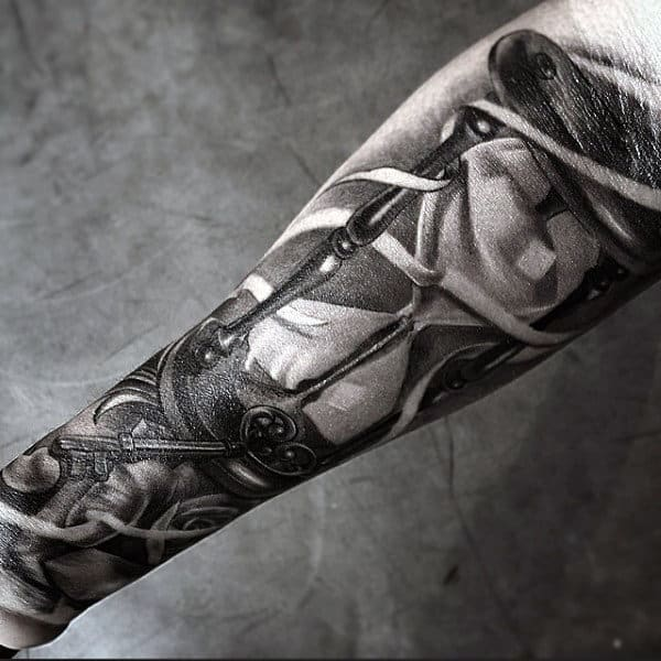 Realistic Inner Forearm Mens Hourglass Tattoo Design
