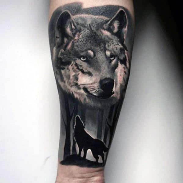 Realistic Inner Forearm Mens Howling Wolf Tattoo