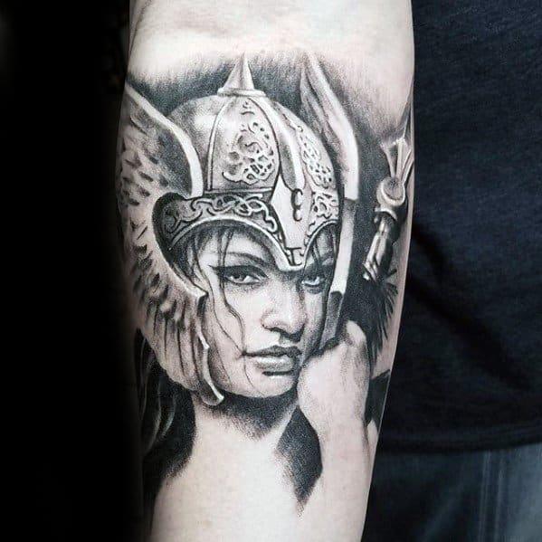 Realistic Inner Forearm Valkyrie Tattoos Men