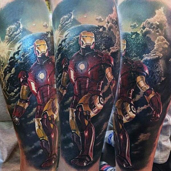 Realistic Ironman Modern Leg Sleeve Tattoo