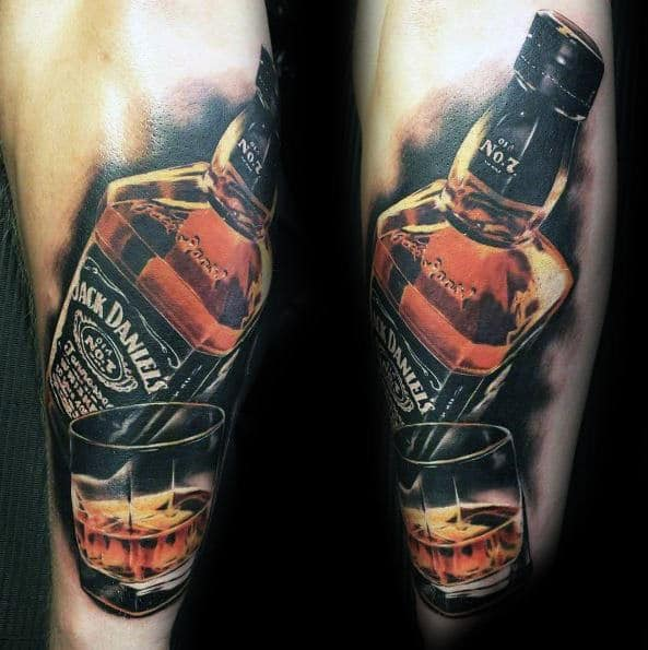 Realistic Jack Daniels Bottle With Whiskey Glass Mens Tattoo