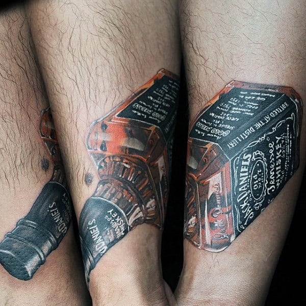 Realistic Jack Daniels Forearm Tattoo For Men