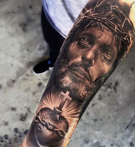 Realistic Jesus Christ Heart Forearm Sleeve Tattoo On Gentleman