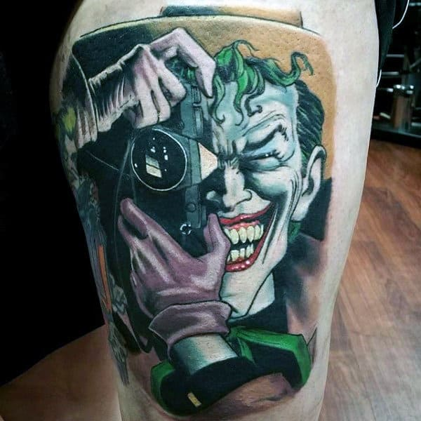 Realistic Joker Thigh Batman Tattoos For Guys