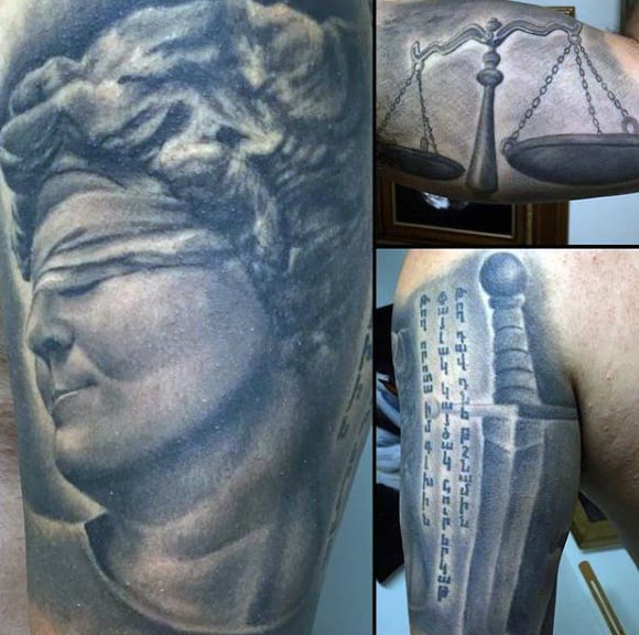 Realistic Justice Tattoo Swords For Men