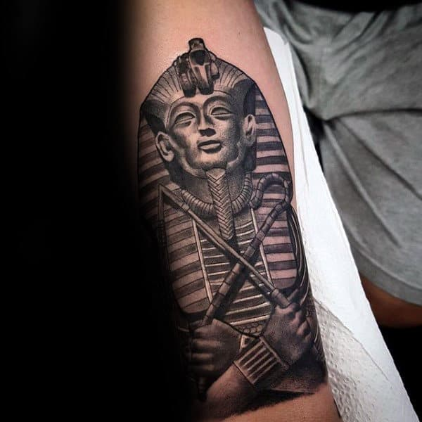 Realistic King Tut Stone Mens Forearm Tattoos