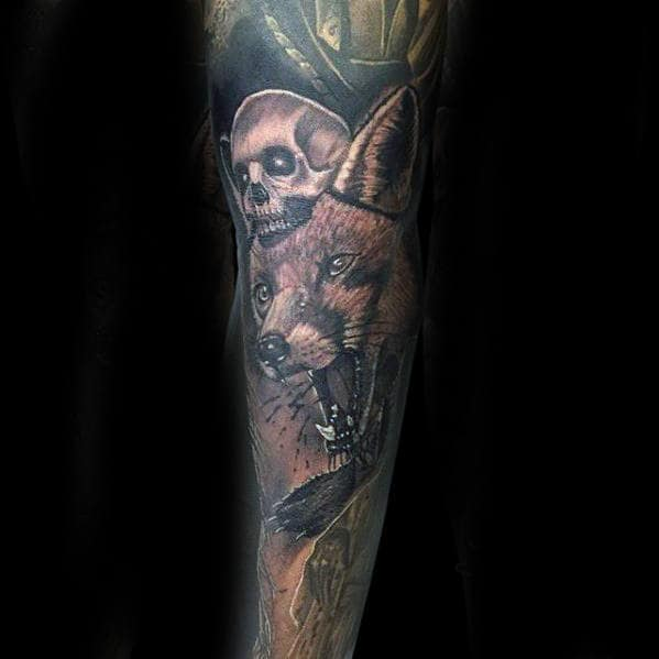 realistic-kitsune-fox-skull-male-sleeve-tattoo
