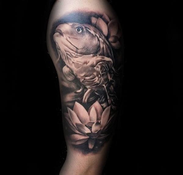 Realistic Koi Fish With Lotus Flower Mens Upper Arm Tattoos