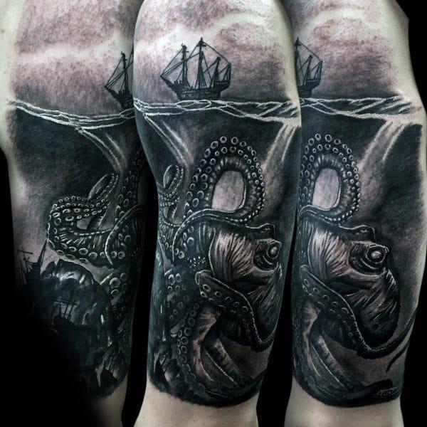 Realistic Kraken Mens Underwater 3d Sleeve Tattoos
