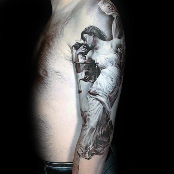 Realistic Lady Justice Guys Libra Half Sleeve Tattoos
