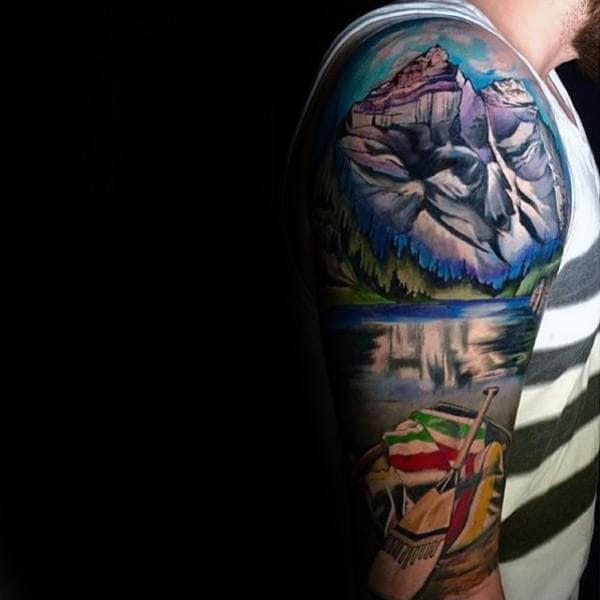 Realistic Landscape Male Tattoo Designs On Arm Sleeve Design