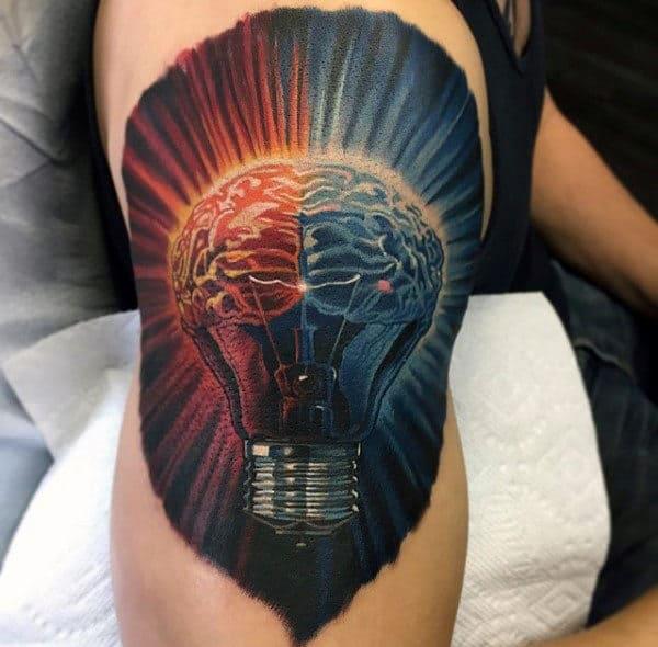 Realistic Light Bulb Brain Mens Upper Arm Tattoo