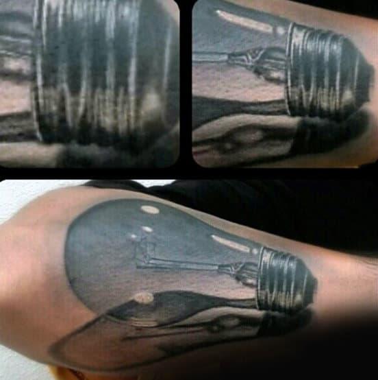 Realistic Light Bulb Male Tattoos