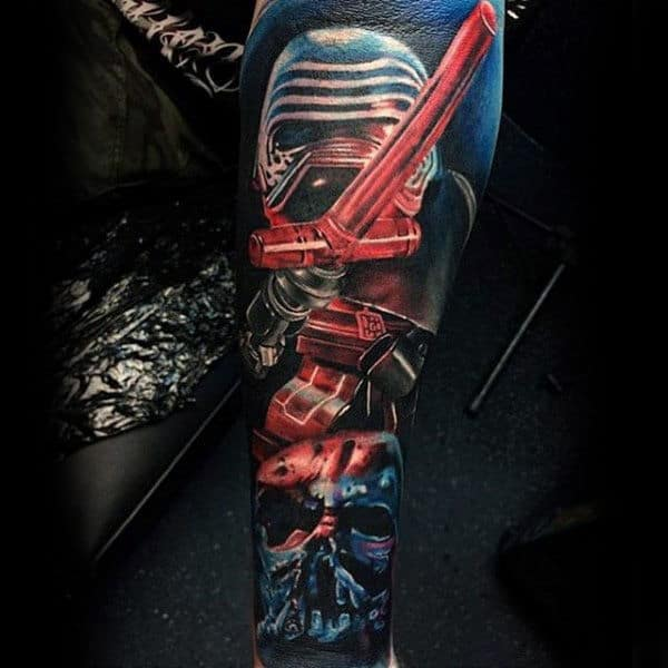 Realistic Lightsaber Mens Sleeve Tattoo Ideas