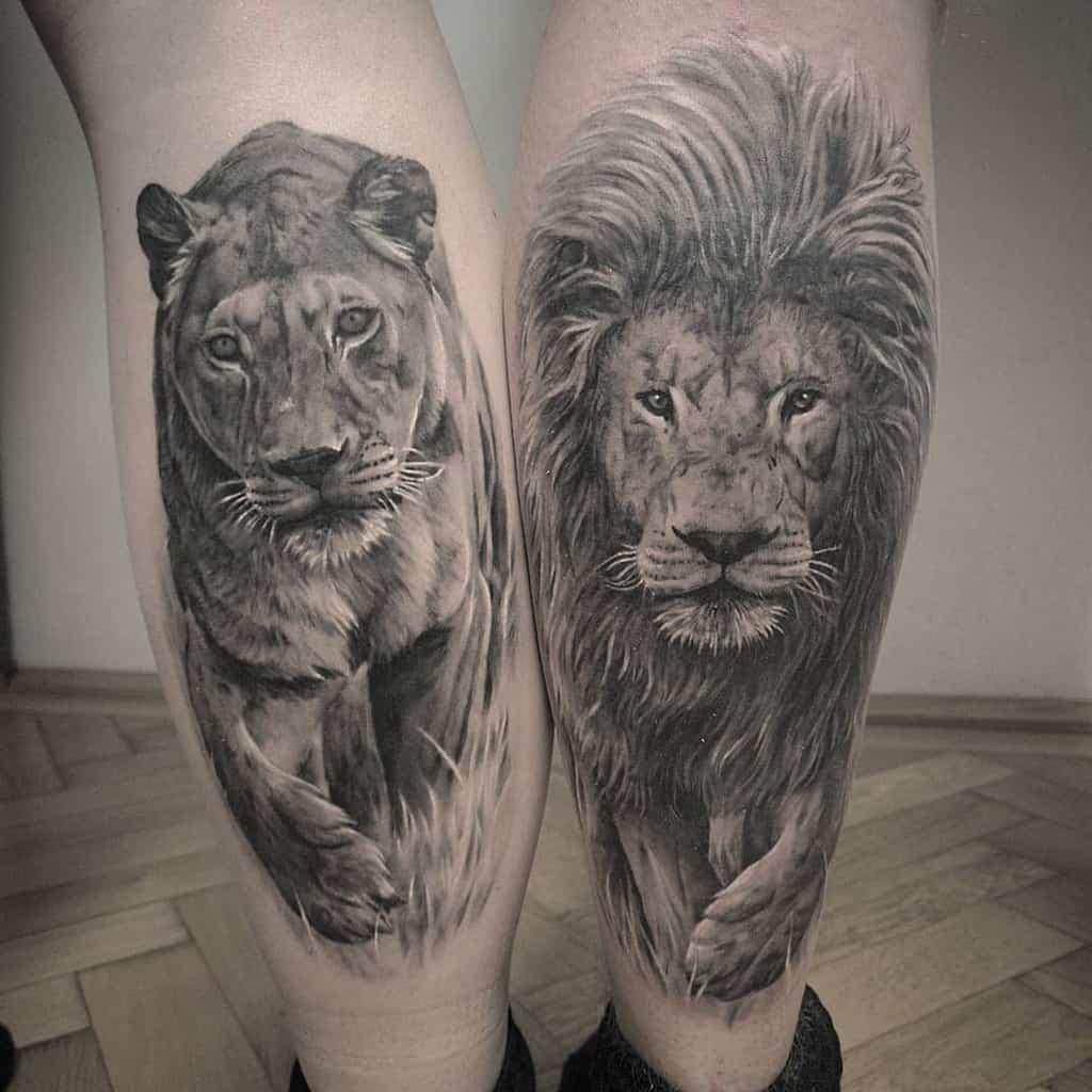 Realistic Lion Friendship Tattoo