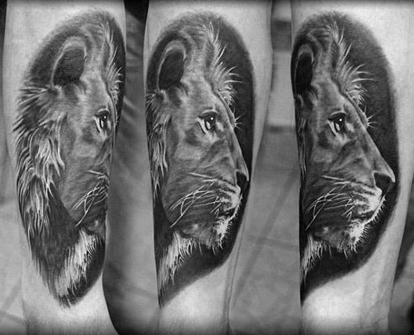 Realistic Lion Inner Forearm Tattoo Design Ideas For Men