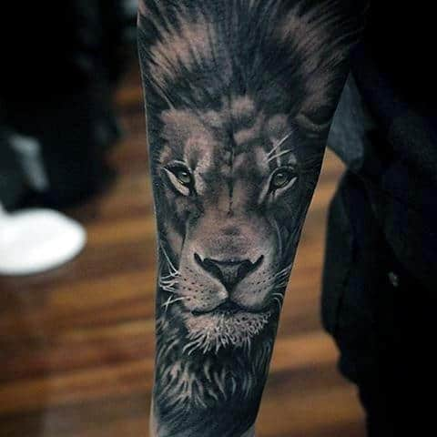 ec96acbcb Realistic Lion Portrait Guys Forearm Sleeve Tattoos
