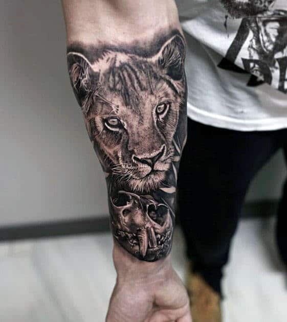 Realistic Lion Skull Guys Forearm Sleeve Tattoo
