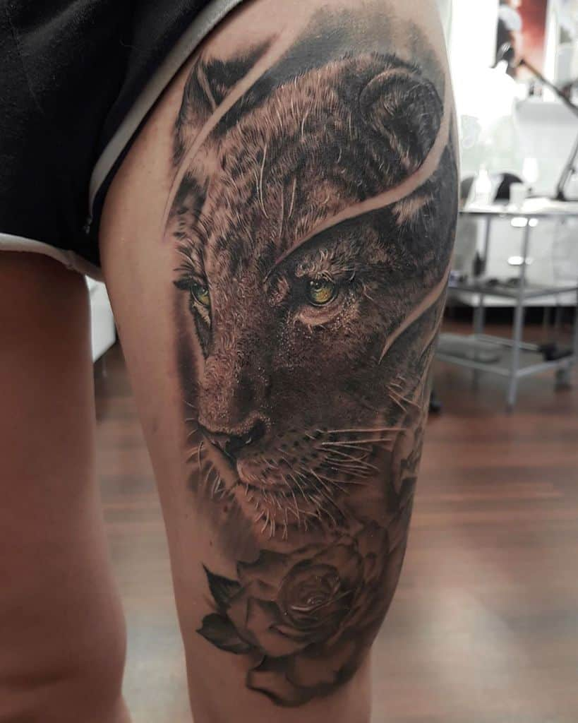 Realistic Lioness Tattoo