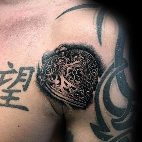 Realistic Locket Mens Upper Arm Tattoo Design Ideas