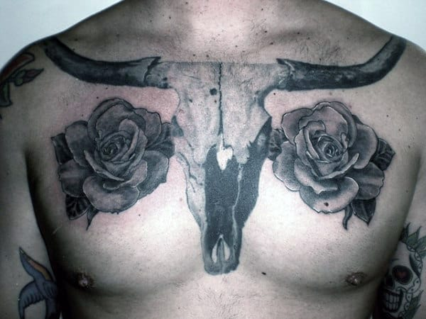 Realistic Longhorn With Rose Flowers Guys Texas Tattoos On Chest