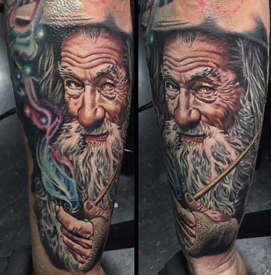 Realistic Lord Of The Rings Gandalf Mens Forearm Tattoo Sleeve
