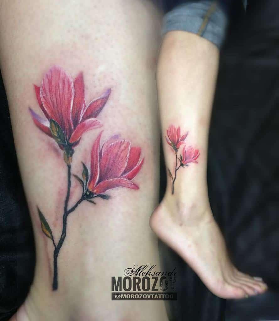 realistic magnolia tattoos morozovtattoo