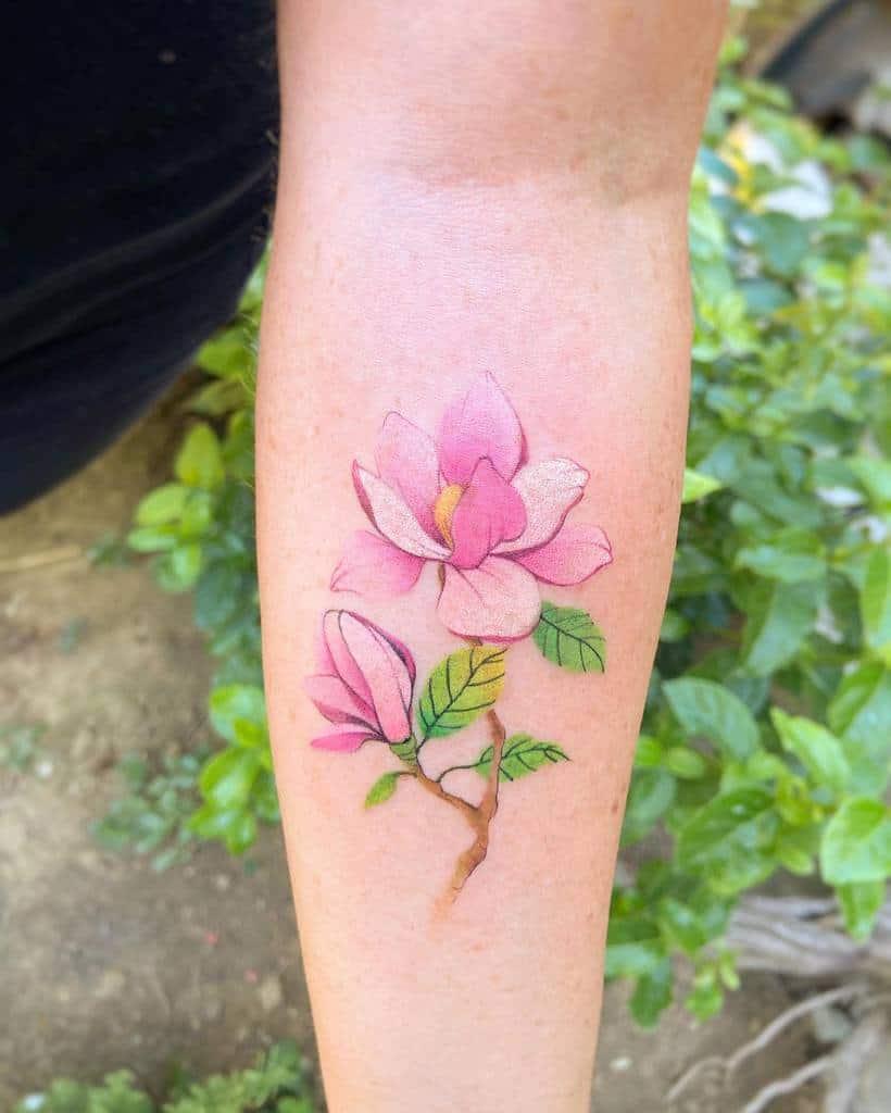 realistic magnolia tattoos newtattoo_qiqi