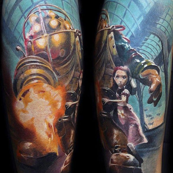 Realistic Male Bioshock Sleeve Tattoo Design Ideas