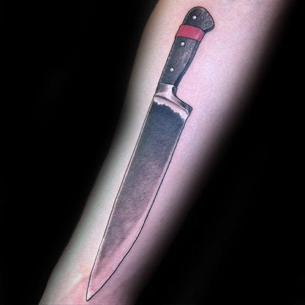 Realistic Male Chef Knife Tattoo Ideas