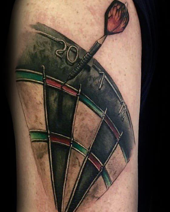 Realistic Male Dart On Dartboard Tattoo Designs