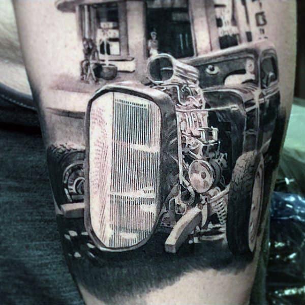 Realistic Male Hot Rod Tattoo Design Ideas
