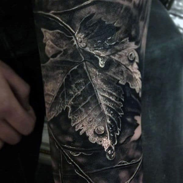 Realistic Male Leaf Vine Tattoo