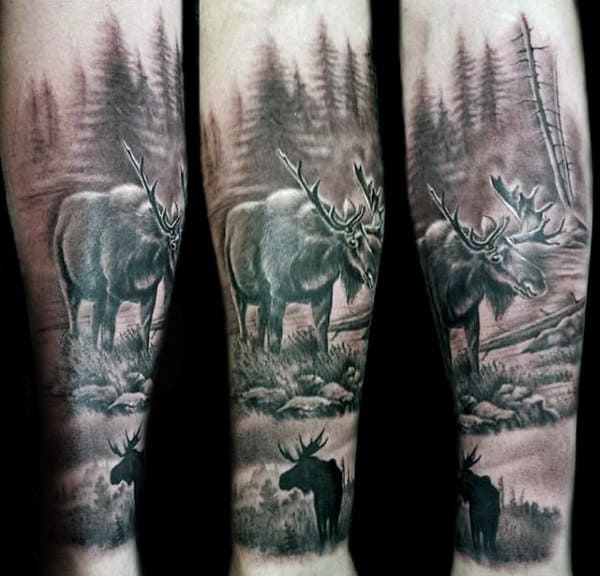 Realistic Male Moose Forearm Sleeve Tattoo