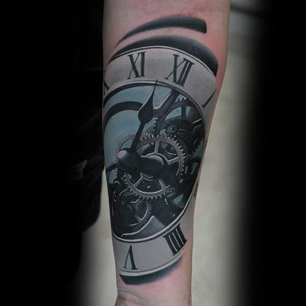 Realistic Male Sick Clock Tattoo On Forearm Ideas